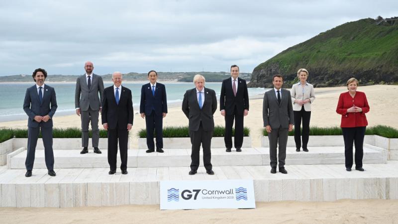 World leaders at G7 summit, UK.
