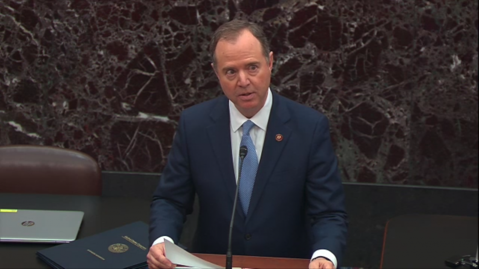 Rep. Adam Schiff reads articles of impeachment on Capitol Hill