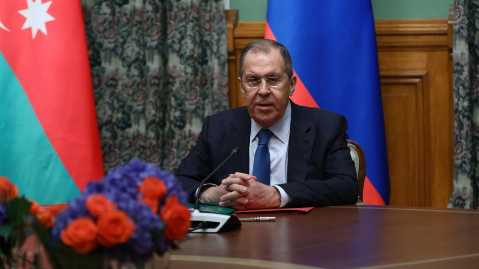 Russian Foreign Minister Sergey Lavrov meets Minister of Foreign Affairs of Azerbaijan Jeyhun Bayramov and Minister of Foreign Affairs of Armenia Zohrab Mnatsakanyan in Moscow, Russia