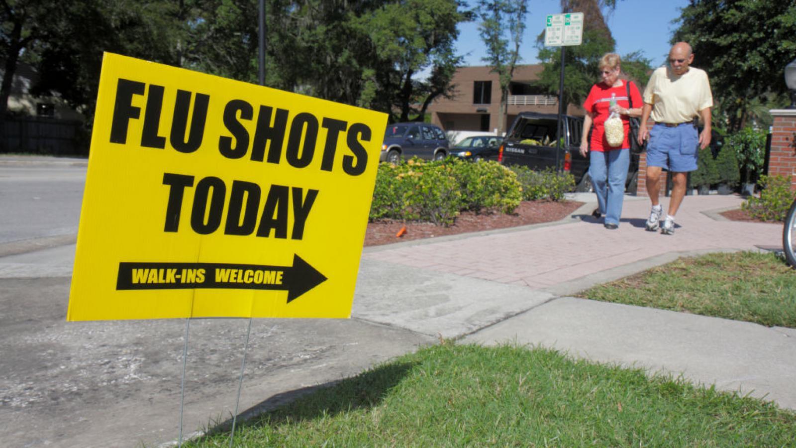 Flu shot sign in Winter Park, FL