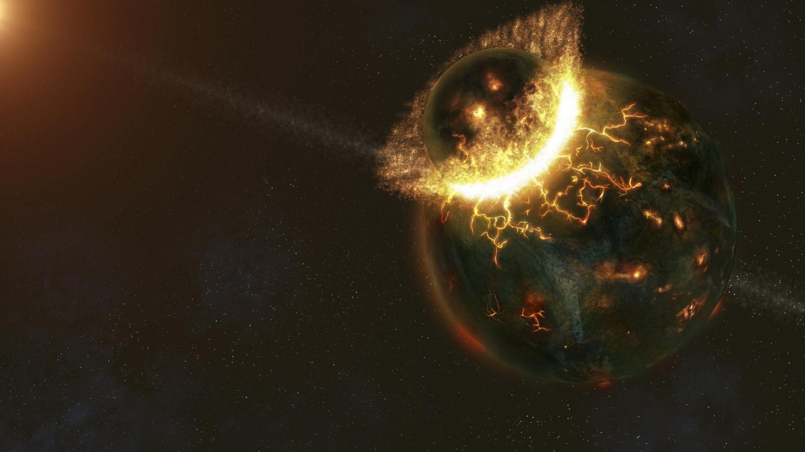 Artist interpretation of Theia's impact on the Earth.