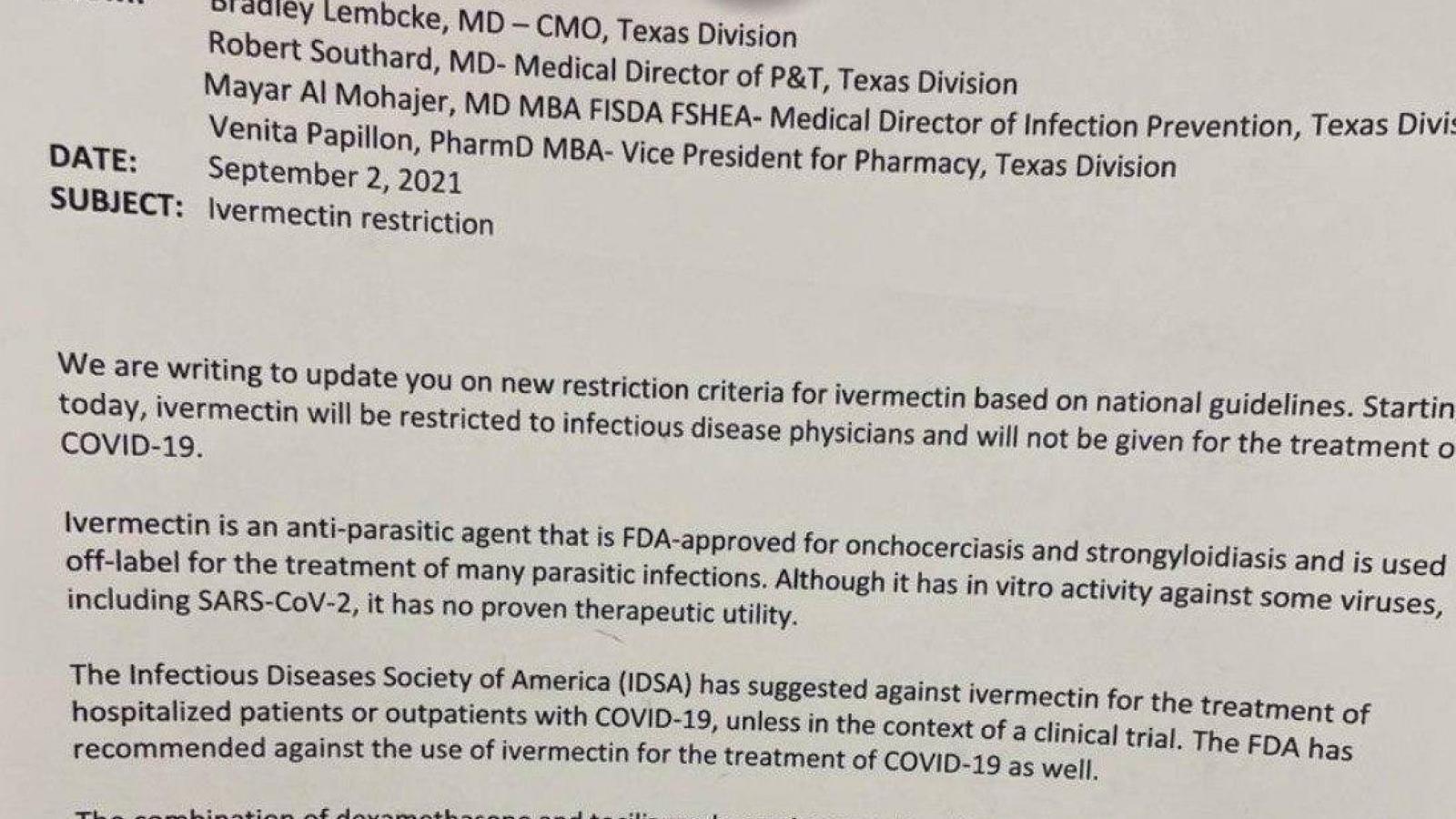 St. Luke's Health memo banning ivermectin to treat COVID