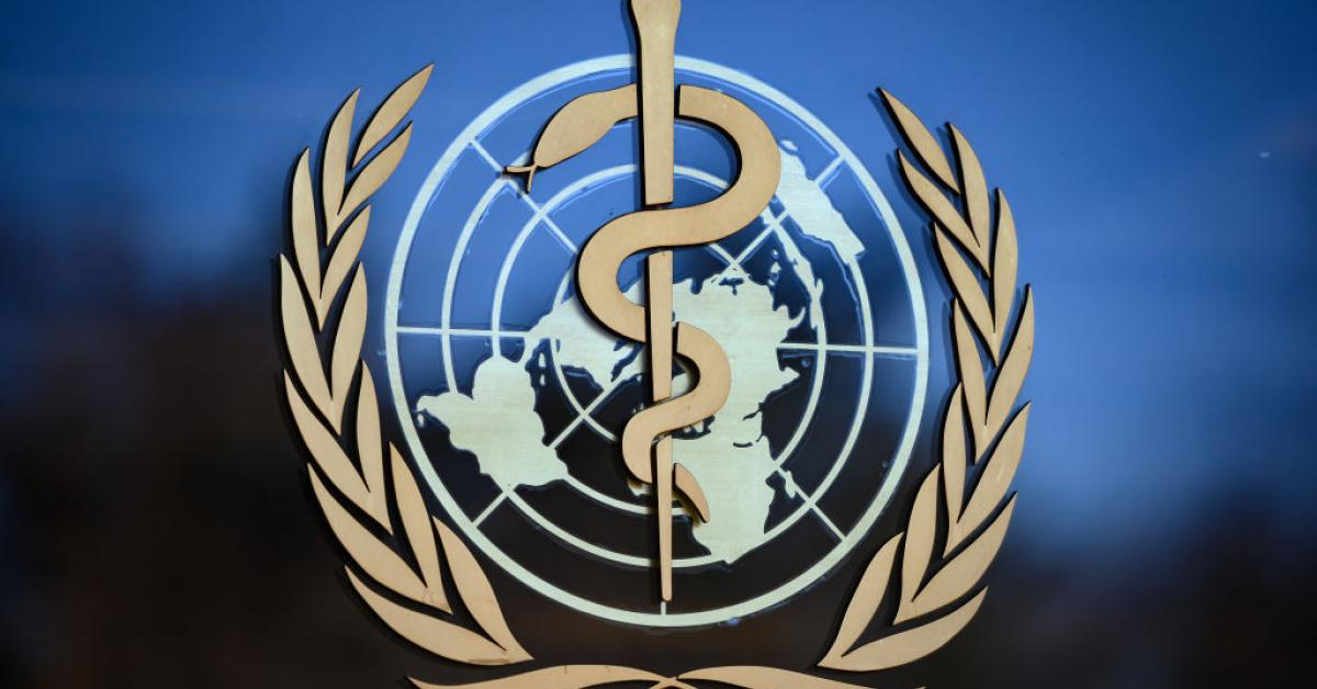 World Health Organization logo in February 2020 | (FABRICE COFFRINI/AFP via Getty Images)