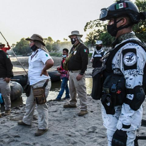 Mexican agents patrol the border with Guatemala