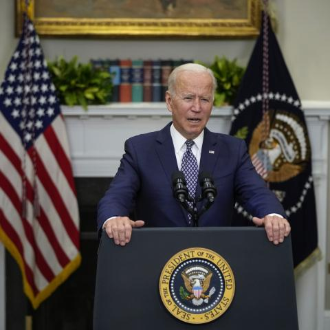 U.S. President Joe Biden speaks about the situation in Afghanistan in the Roosevelt Room of the White House on August 24, 2021 in Washington, DC.